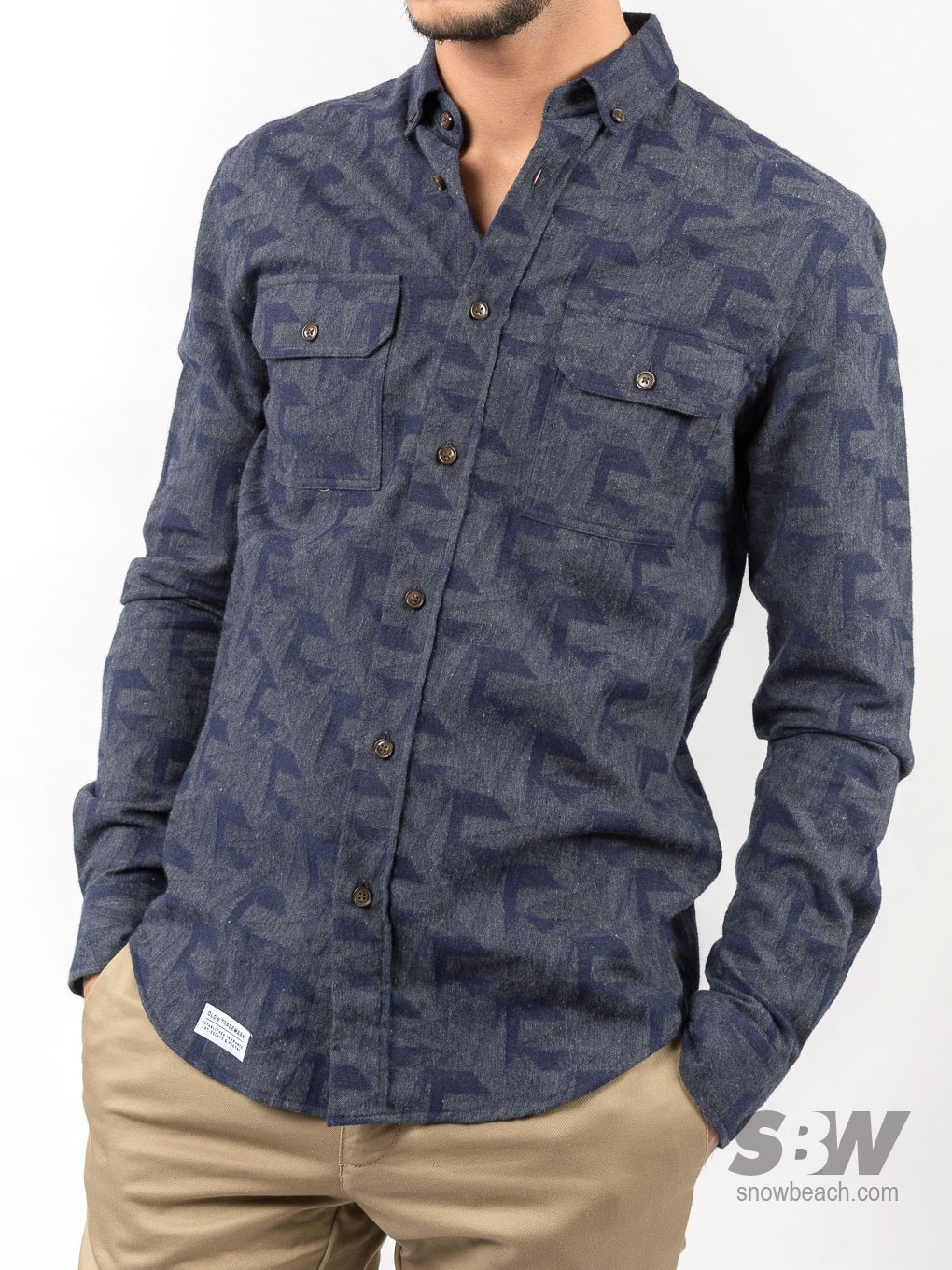 OLOW CHEMISE CHARCOAL FLANELLE motifs