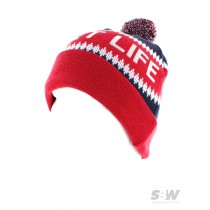 THE QUIET LIFE FLAKE STOCKING BEANIE red navy